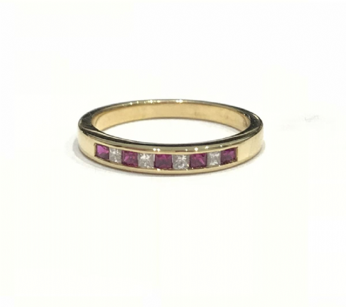 Yellow Gold Ruby And Diamond Princess Cut Eternity Ring